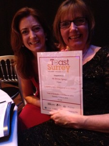 Paline Gillan and Mary Fitzgerald of The McOnie Agency with their finalist's certificate.